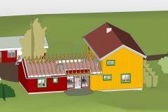 Tilbygg for universell utforming. Tautra, Frosta kommune. 3D-skisse-mot-ost-m.-takstoler